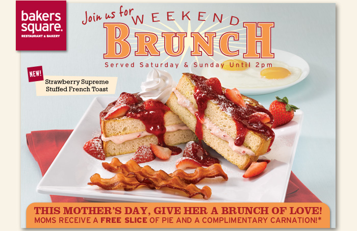 Join us for Weekend Brunch Served Saturday & Sunday Until 2pm. This Mother's Day, give her a brunch of love!