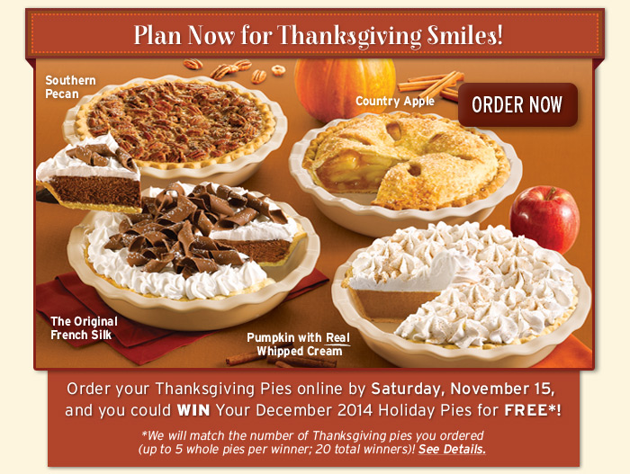 Its not too early to Order Thanksgiving Pies!